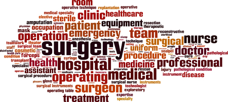operative: Surgery word cloud concept. Vector illustration