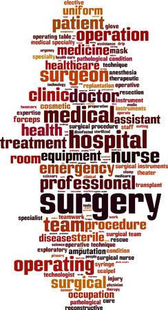 手術の単語の雲概念。ベクトル図
