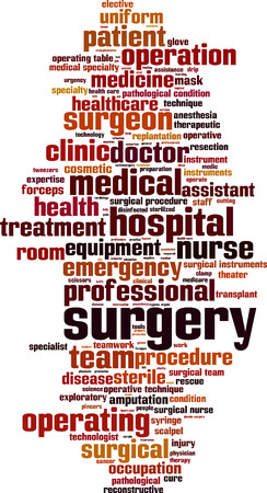 elective: Surgery word cloud concept. Vector illustration