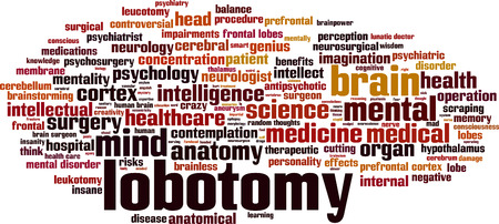 neurosurgery: Lobotomy word cloud concept. Vector illustration