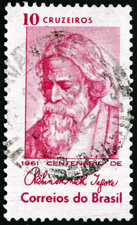 indian postal stamp: BRAZIL - CIRCA 1961: a stamp printed in the Brazil shows Rabindranath Tagore, Indian Poet, circa 1961