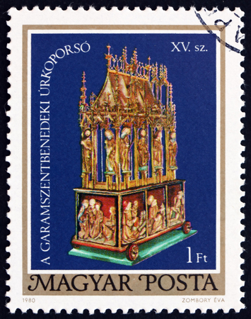 15th: HUNGARY - CIRCA 1980: a stamp printed in the Hungary shows Easter Casket of Garamszentbenedek, 15th Century (Restoration), circa 1980 Editorial