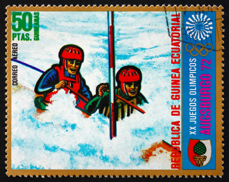 summer olympics: EQUATORIAL GUINEA - CIRCA 1972: a stamp printed in Equatorial Guinea shows Canoeing, Summer Olympics 1972, Munich, Events in Augsburg, circa 1972