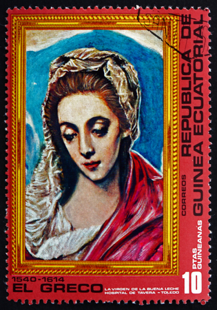greco: EQUATORIAL GUINEA - CIRCA 1976: a stamp printed in Equatorial Guinea shows Virgin, Painting by El Greco, circa 1976 Editorial