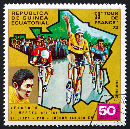 eddy: EQUATORIAL GUINEA - CIRCA 1973: a stamp printed in Equatorial Guinea shows Eddy Merckx, Belgian Former Professional Road and Track Bicycle Racer, circa 1973