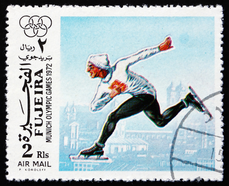 fujeira: FUJEIRA - CIRCA 1972: a stamp printed in the Fujeira shows Speed Skating, Summer Olympics 1972, Munich, circa 1972