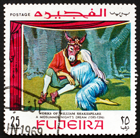 fujeira: FUJEIRA - CIRCA 1969: a stamp printed in the Fujeira shows Scene from Midsummer Nights Dream, Comedy Play by William Shakespeare, circa 1969
