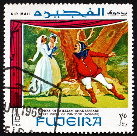 FUJEIRA - CIRCA 1969: a stamp printed in the Fujeira shows Scene from The Merry Wives of Windsor, Comedy Play by William Shakespeare, circa 1969