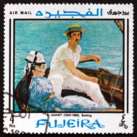fujeira: FUJEIRA - CIRCA 1968: a stamp printed in the Fujeira shows In the Boat, Painting by Edouard Manet, circa 1968