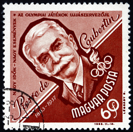 historian: HUNGARY - CIRCA 1963: a stamp printed in the Hungary shows Pierre de Coubertin, French Educator and Historian, Reviver of Olympic Games, circa 1963 Editorial