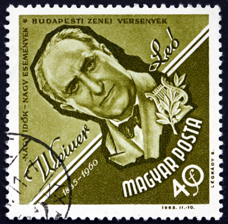 composer: HUNGARY - CIRCA 1963: a stamp printed in the Hungary shows Leo Weiner, Hungarian Composer and Music Educator, circa 1963