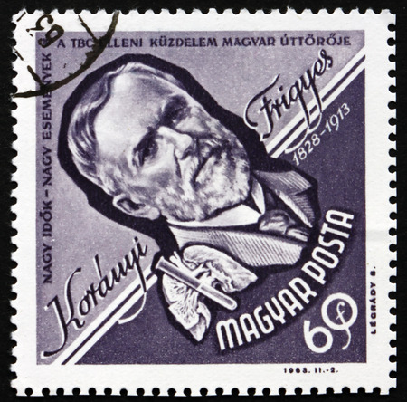 baron: HUNGARY - CIRCA 1963: a stamp printed in the Hungary shows Baron Frigyes Koranyi de Tolcsva, Hungarian Physician, circa 1963
