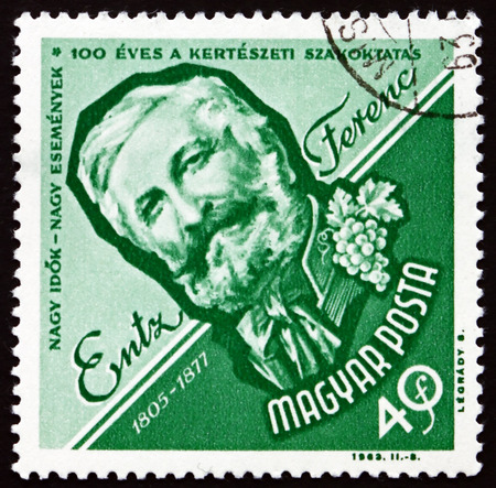 publicist: HUNGARY - CIRCA 1963: a stamp printed in the Hungary shows Entz Ferenc, Hungarian Horticulturist, Scholar and Publicist, circa 1963