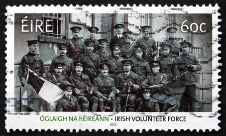 centenary: IRELAND - CIRCA 2013: a stamp printed in the Ireland shows Soldiers, Centenary of Irish Volunteer Force, circa 2013 Editorial