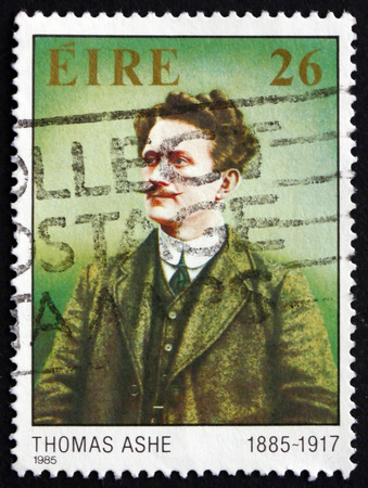gaelic: IRELAND - CIRCA 1985: a stamp printed in the Ireland shows Tomas Ashe, Patriot and Educator, Member of the Gaelic League and the Irish Republican Brotherhood, circa 1985
