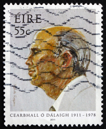 5th: IRELAND - CIRCA 2011: a stamp printed in the Ireland shows Cearbhall ODalaigh, 5th President of Ireland, circa 2011 Editorial