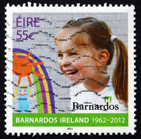 50th: IRELAND - CIRCA 2012: a stamp printed in the Ireland shows Girl, 50th Anniversary of the Organisation Barnados Ireland, circa 2012