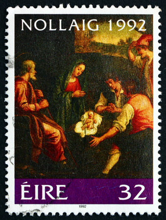 adoration: IRELAND - CIRCA 1992: a stamp printed in the Ireland shows Adoration of the Shepherds, Painting by Jacopo da Empoli, Christmas, circa 1992 Editorial