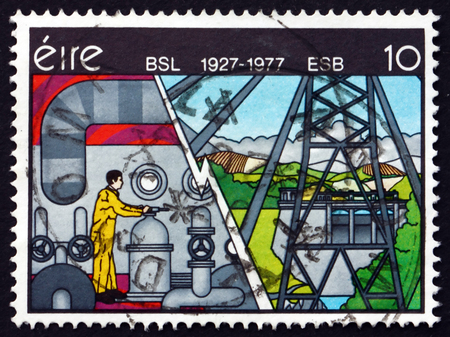 robert: IRELAND - CIRCA 1977: a stamp printed in the Ireland shows Electricity, Mural by Robert Ballagh, 50th Anniversary of Electricity Supply Board, circa 1977