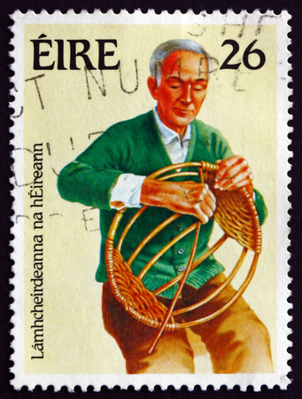 basket weaving: IRELAND - CIRCA 1983: A stamp printed in Ireland shows Basket Weaving, Handicraft, circa 1983