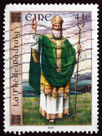 missionary: IRELAND - CIRCA 2003: A stamp printed in Ireland shows St. Patrick, St. Patricks Day, Romano-British Christian Missionary and Bishop in Ireland, circa 2003