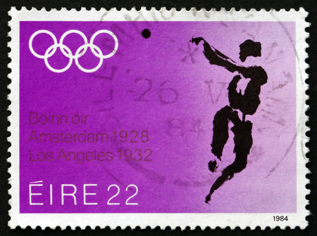 summer olympics: IRELAND - CIRCA 1984: A stamp printed in Ireland shows Hammer Throw, 1984 Summer Olympics, Los Angeles, circa 1984