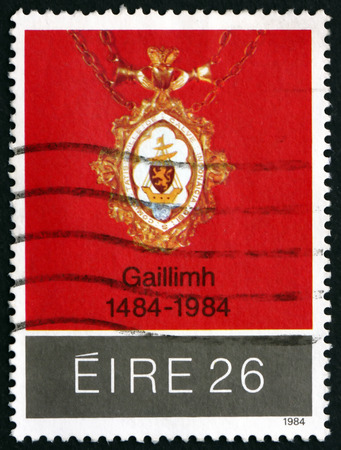 mayoral: IRELAND - CIRCA 1984: A stamp printed in Ireland shows Medal of Mayoral City of Galway, 500th Anniversary, circa 1984