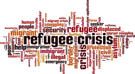 migrant: Refugee crisis word cloud concept. Vector illustration Illustration