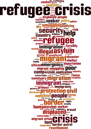 resettlement: Refugee crisis word cloud concept. Vector illustration Illustration