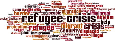 border patrol: Refugee crisis word cloud concept. Vector illustration Illustration