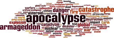 cataclysm: Apocalypse word cloud concept. Vector illustration Illustration