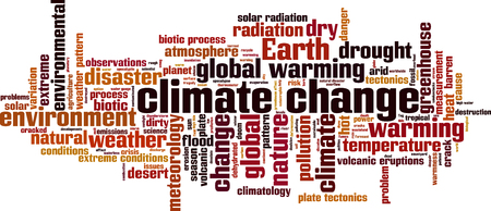 climatology: Climate change word cloud concept. Vector illustration