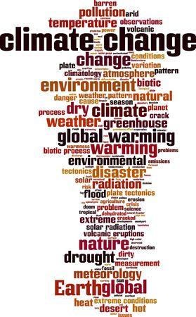 radiacion solar: palabra cambio climático concepto de la nube. ilustración vectorial