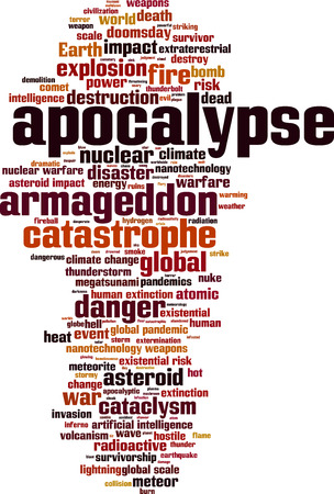 doomsday: Apocalypse word cloud concept. Vector illustration Illustration