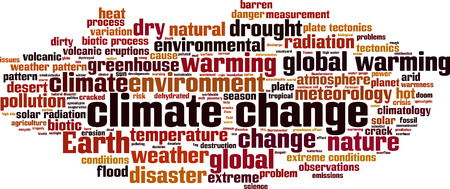 Klimaatverandering word cloud concept. Vector illustratie