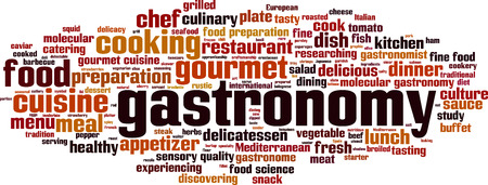 discovering: Gastronomy word cloud concept. Vector illustration