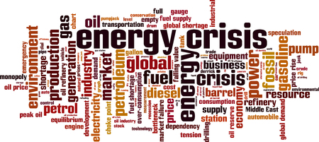 price development: Energy crisis word cloud concept. Vector illustration Illustration