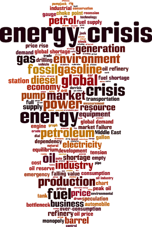 middle east crisis: Energy crisis word cloud concept. Vector illustration Illustration
