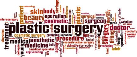 surgery concept: Plastic surgery word cloud concept. Vector illustration