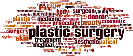skin burns: Plastic surgery word cloud concept. Vector illustration