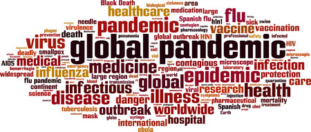 h1n1: Global pandemic word cloud concept. Vector illustration