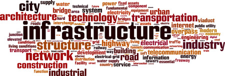 Infrastructure word cloud concept. Vector illustration