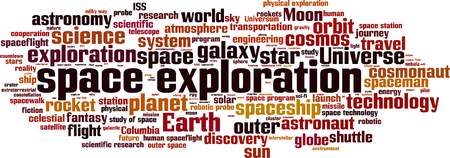 exploration: Space exploration word cloud concept. Vector illustration Illustration