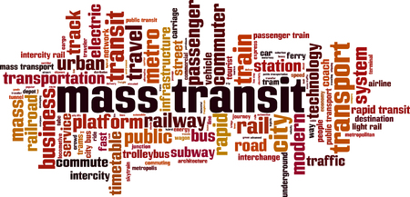 transit: Mass transit word cloud concept. Vector illustration