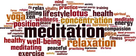 meditate: Meditation word cloud concept. Vector illustration Illustration