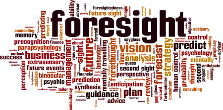 Foresight word cloud concept. Vector illustration Illustration