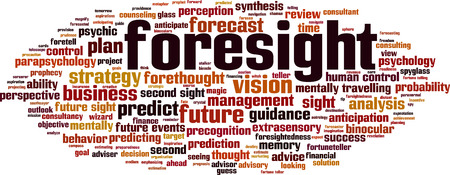 foresight: Foresight word cloud concept. Vector illustration Illustration