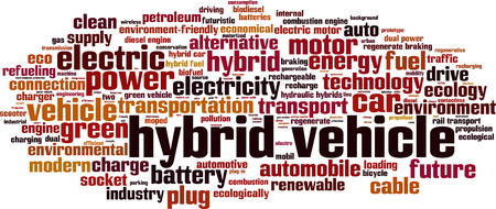 combustion: Hybrid vehicle word cloud concept. Vector illustration