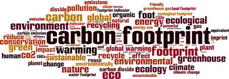 Carbon footprint word cloud concept. Vector illustration