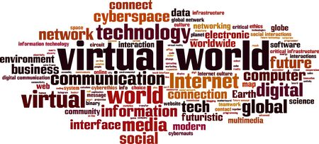 interactions: Virtual world word cloud concept. Vector illustration Illustration